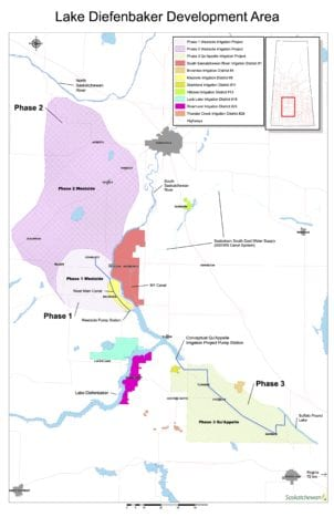 Saskatchewan irrigation expansion map