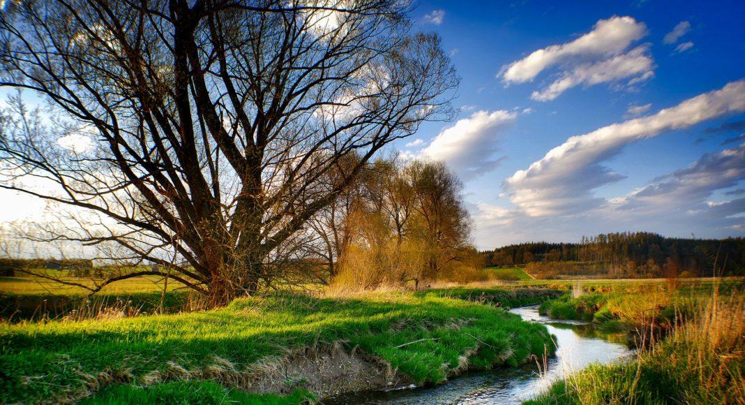 Waterway through fields
