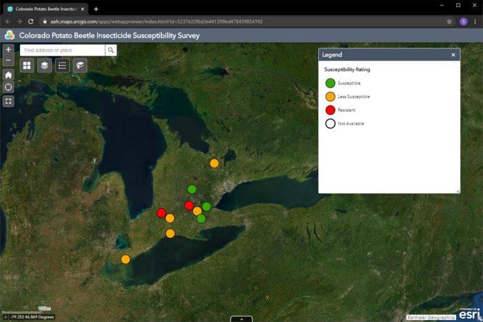 Interactive Colorado potato beetle map